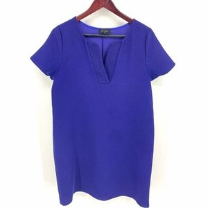 Everly Royal Blue Shift Dress V Neck Short Sleeve
